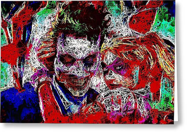 Greeting Card featuring the mixed media Joker And Harley Quinn 2 by Al Matra