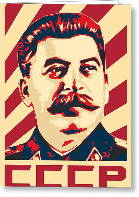 Joseph Stalin Retro Propaganda Greeting Card