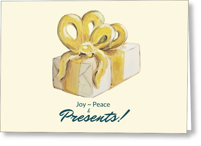Greeting Card featuring the painting Joy, Peace And Presents by Maria Langgle