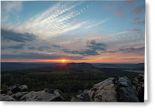 Greeting Card featuring the photograph Just Before Sundown by Andreas Levi