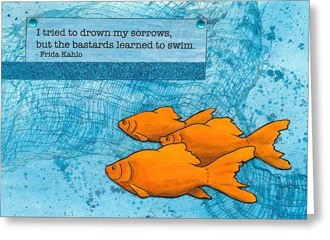 Kahlo Goldfish Greeting Card