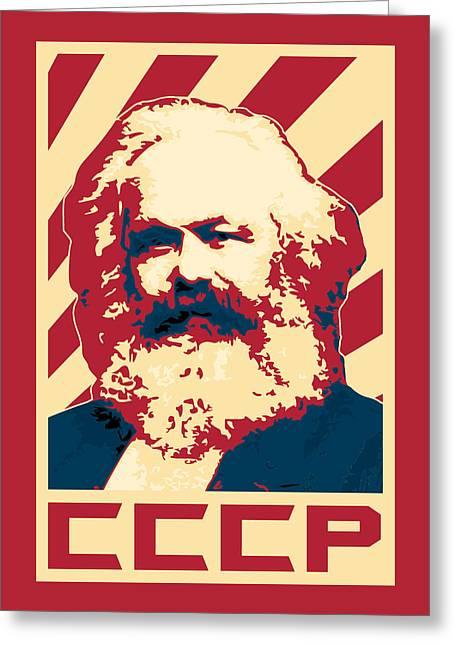 Karl Marx Cccp Retro Propaganda  Greeting Card