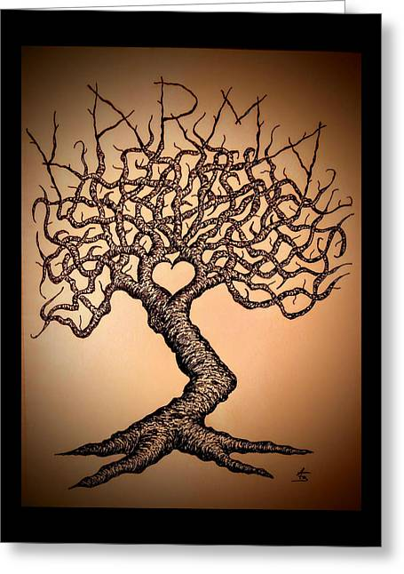 Greeting Card featuring the drawing Karma Love Tree by Aaron Bombalicki