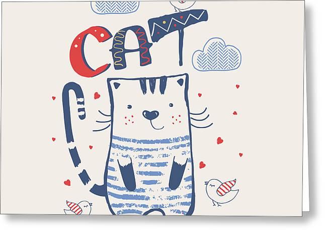 Kathand Drawn Vector Illustration Of Greeting Card
