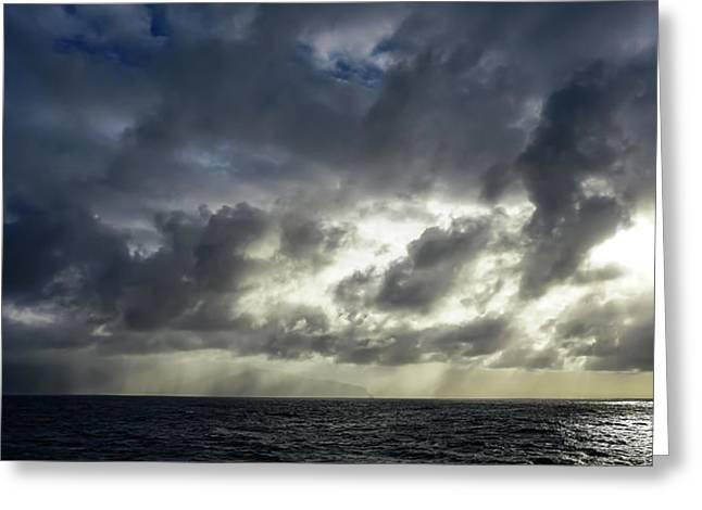 Kauai Coast In Stormy Weather Greeting Card
