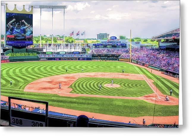 Kauffman Stadium Kansas City Royals Baseball Ballpark Stadium Greeting Card