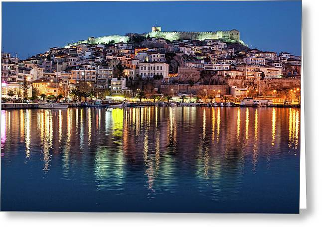 Greeting Card featuring the photograph Kavala Town At Night by Milan Ljubisavljevic