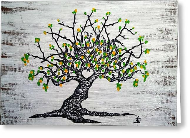 Kayaker Love Tree Art Greeting Card