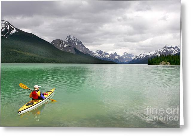 Kayaking In Banff National Park, Canada Greeting Card by Oksana.perkins