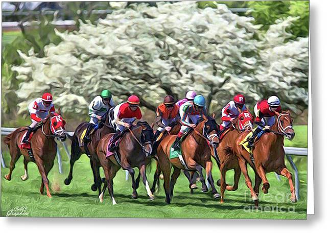 Keeneland Down The Stretch Greeting Card