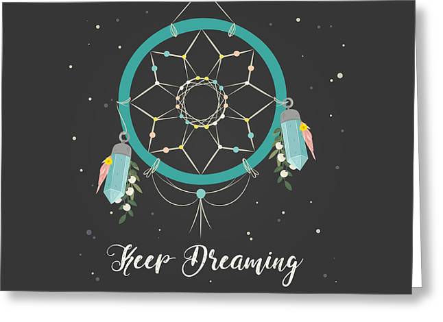 Keep Dreaming - Boho Chic Ethnic Nursery Art Poster Print Greeting Card