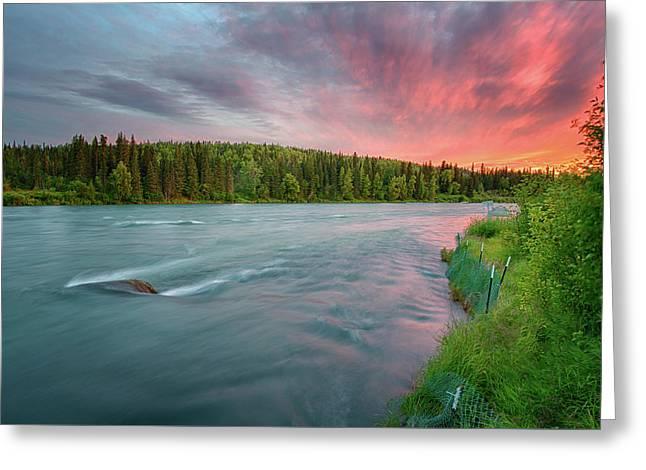 Greeting Card featuring the photograph Kenai River Alaska Sunset by Nathan Bush