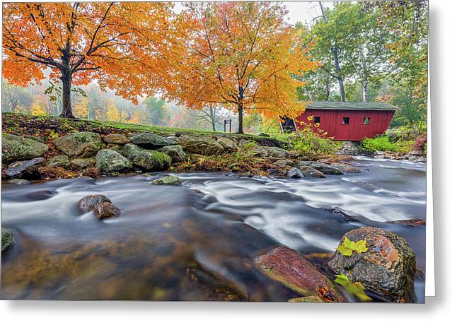 Greeting Card featuring the photograph Kent Falls Autumn 2018 by Bill Wakeley