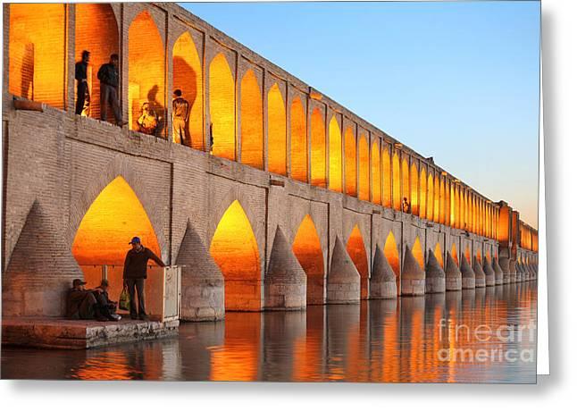 Khajoo Bridge Over Zayandeh River At Greeting Card