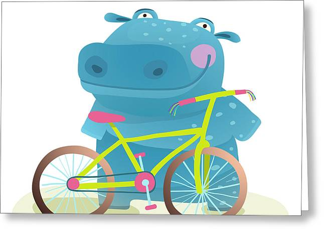Kid Cute Hippo With Bicycle Childish Greeting Card