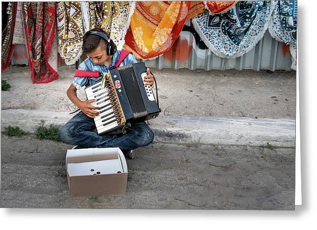 Kid Playing Accordeon Greeting Card