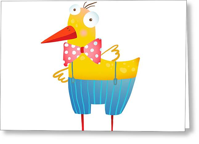 Kids Humorous Yellow Duck With Bow Tie Greeting Card