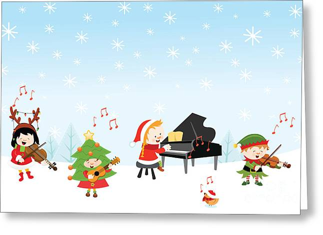 Kids Playing Christmas Songs Greeting Card