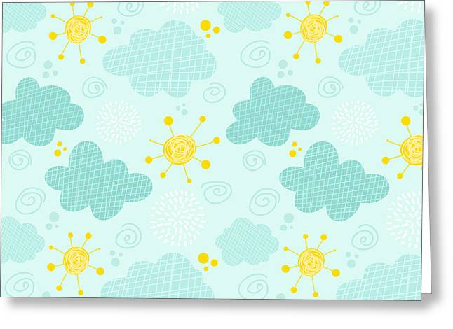 Kids Seamless Pattern Clouds And Sun Greeting Card