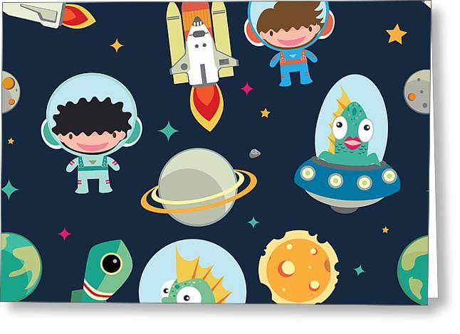 Kids Space Seamless Pattern Greeting Card