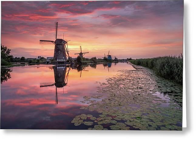 Kinderdijk Sunset Greeting Card