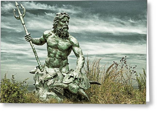 Greeting Card featuring the photograph King Neptune Guards The Cape Charles Beach by Bill Swartwout Fine Art Photography