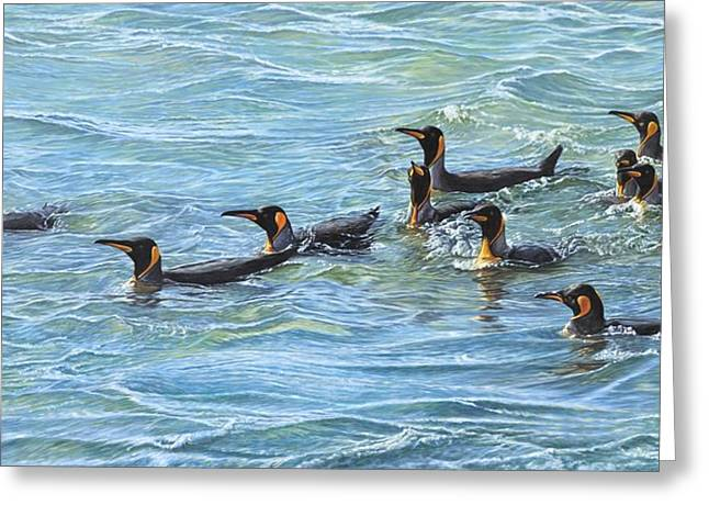 Greeting Card featuring the painting King Penguins Swimming by Alan M Hunt