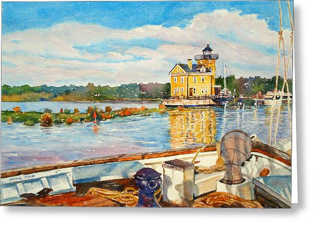 Kingston Lighthouse From The Sloop Clearwater Greeting Card by Mira Fink