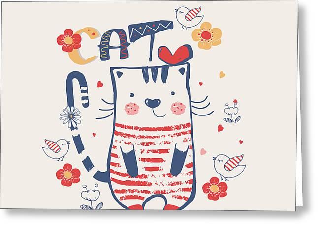 Kittenhand Drawn Vector Illustration Of Greeting Card