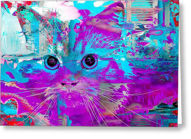 Kitty Collage Blue Greeting Card