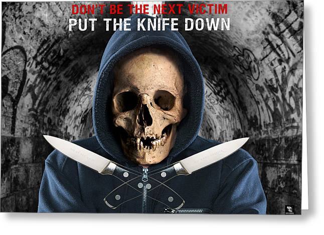 Greeting Card featuring the digital art Knife Crime Part 2 - The Next Victim by ISAW Company