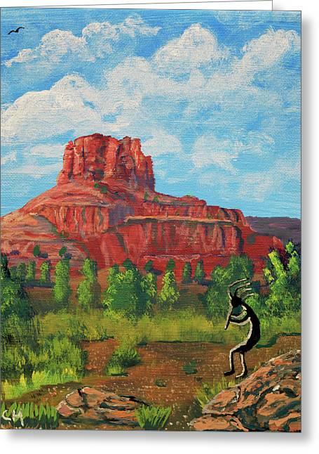 Kokopelli And Bell Rock, Sedona, Arizona  Greeting Card