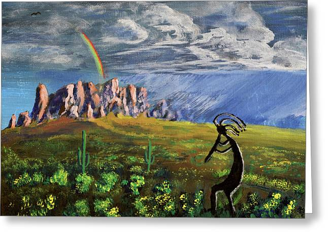 Kokopelli And The Superstition Mountains Greeting Card