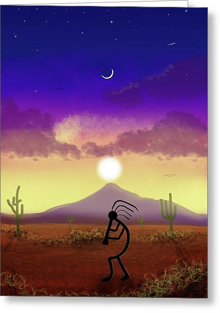 Kokopelli Dream World Greeting Card