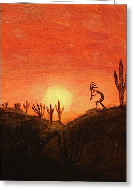 Kokopelli's Sunset Song Greeting Card