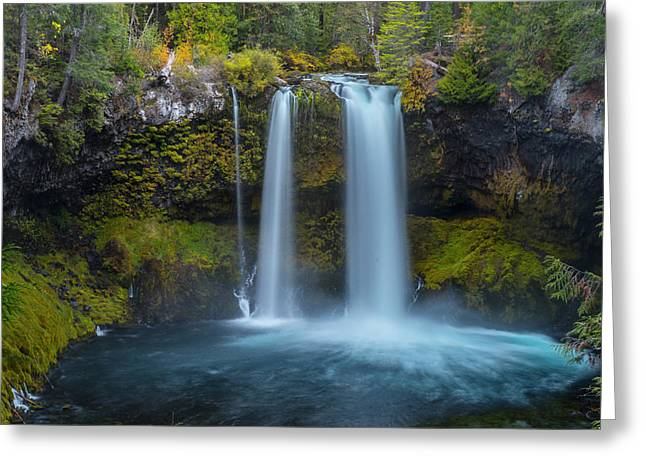 Greeting Card featuring the photograph Koosah Falls, Autumn  by Matthew Irvin