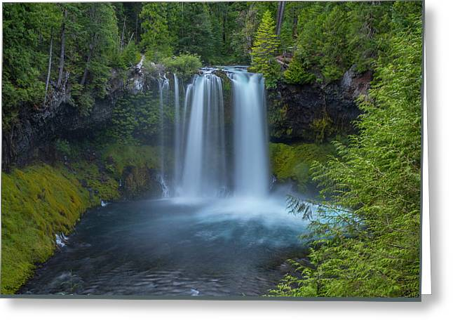 Greeting Card featuring the photograph Koosah Falls, Summer by Matthew Irvin