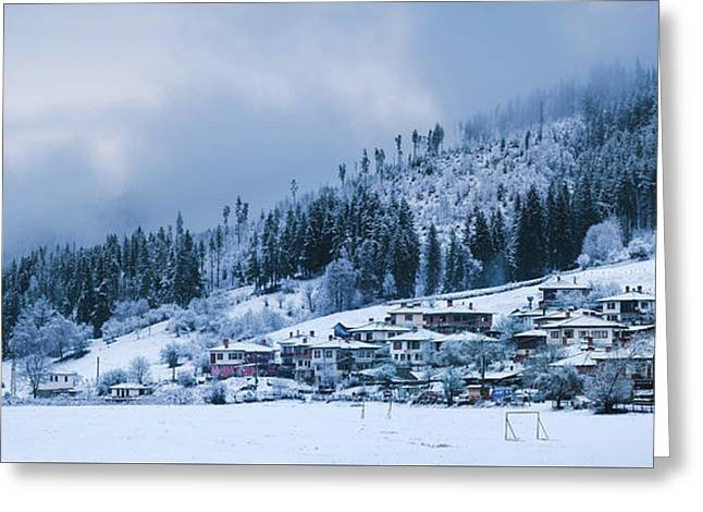 Greeting Card featuring the photograph Koprivshtica Winter Panorama by Milan Ljubisavljevic