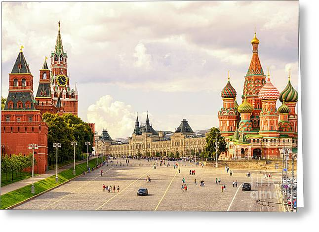 Kremlin And St Basils Cathedral On The Greeting Card