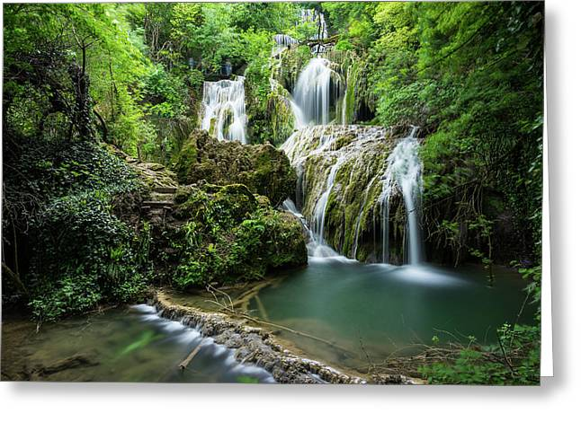 Greeting Card featuring the photograph Krushunski Waterfalls by Milan Ljubisavljevic