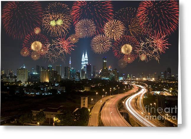 Kuala Lumpur Night View During Greeting Card