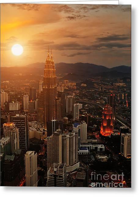 Kuala Lumpur Sunset Scene With Petronas Greeting Card