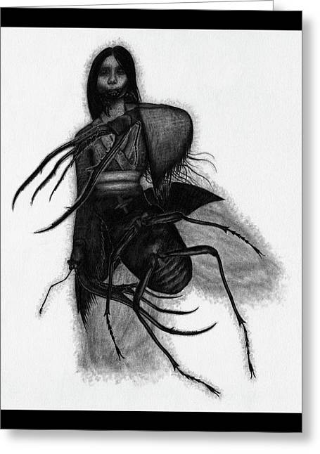 Kuchisake-onna The Slit Mouthed Woman Ghost - Artwork Greeting Card