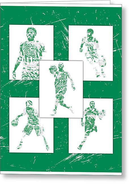 Kyrie Irving Boston Celtics Panel Pixel Art 1 Greeting Card