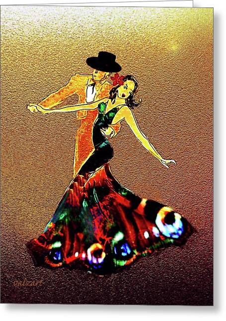 Greeting Card featuring the painting La Fiesta by Valerie Anne Kelly