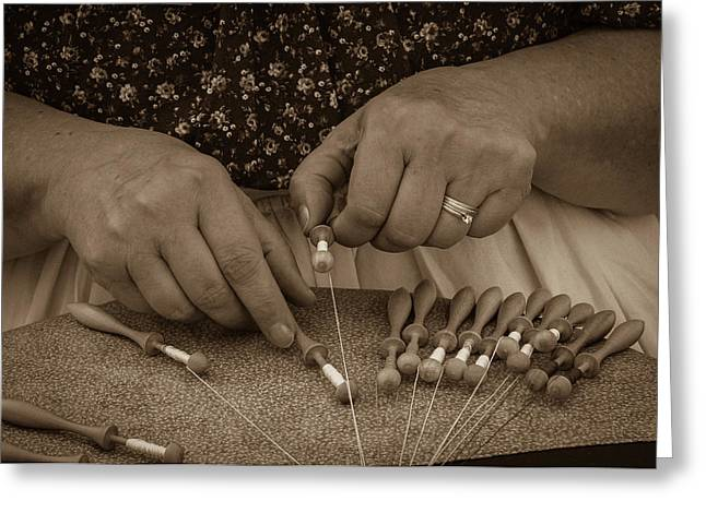 Greeting Card featuring the photograph Lacemaker 1364 by Guy Whiteley