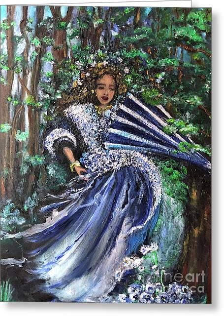Greeting Card featuring the painting Lady In Forest by Laurie Lundquist