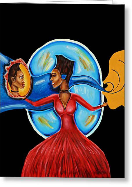 African Goddess Lady In Red Afrocentric Art Mother Earth Black Woman Art Greeting Card