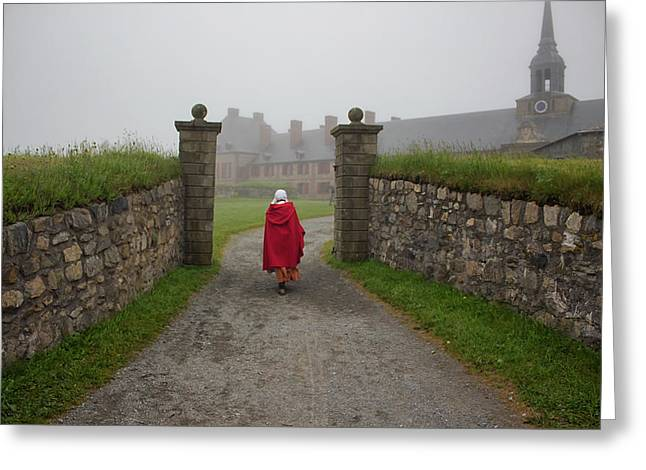 Lady In Red - Fortress Louisburg Greeting Card