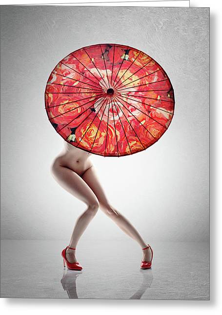 Lady With Red Shoes And Parasol Greeting Card
